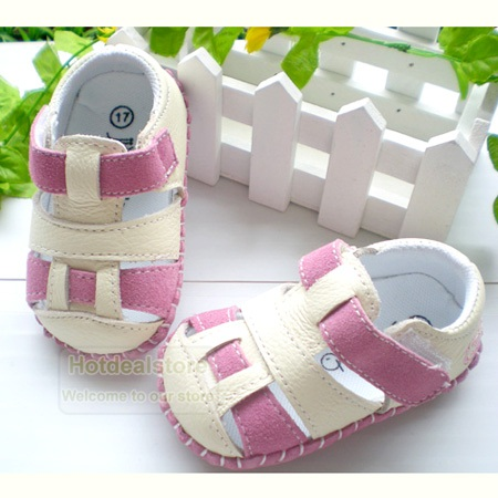 Pink-and-White-Toddler-Baby-Girls-Leather-Shoes-Sandals-3-18-months-WN010P